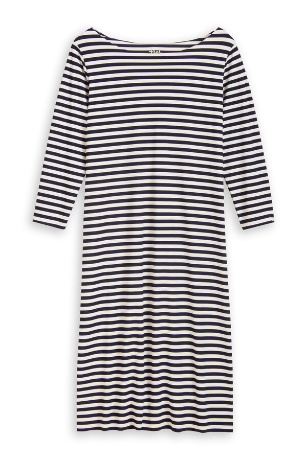 SHORT TEE DRESS STRIPE INK BLUE