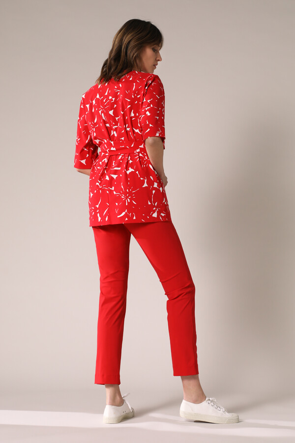 WIDE TEE TOP FLOWER PRINT RADICAL RED