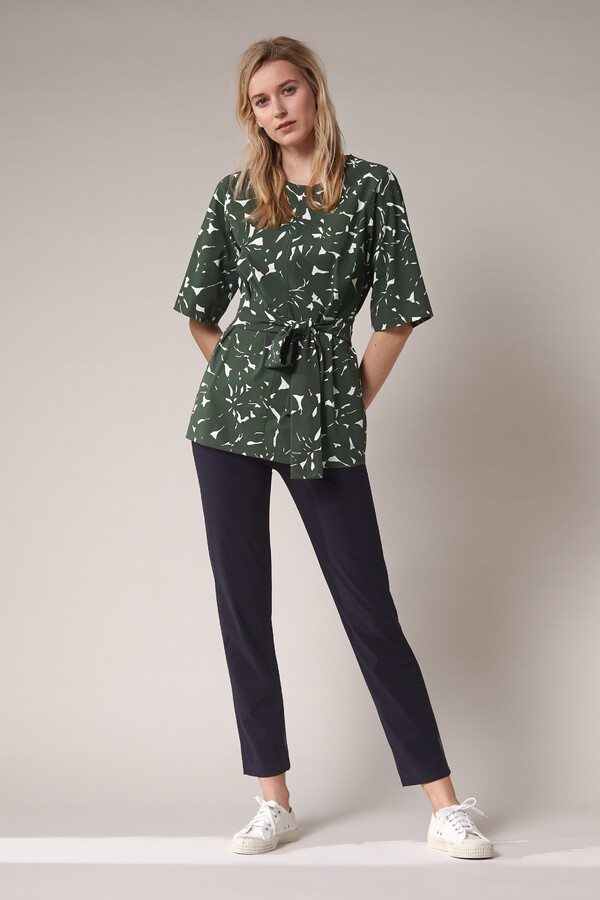 WIDE TEE TOP FLOWER PRINT GREEN