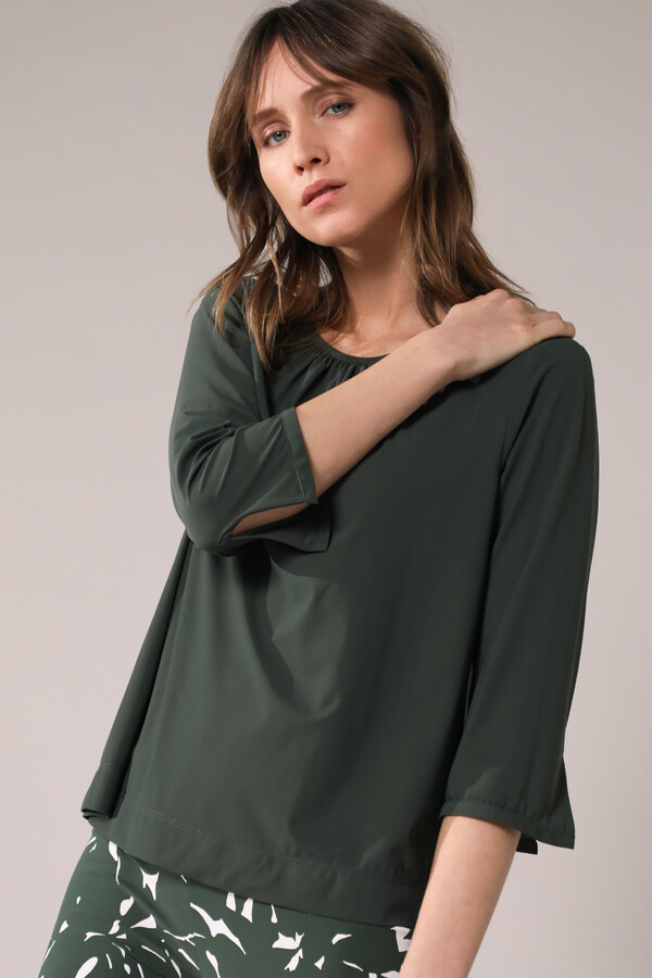 GATHERED TOP GREEN