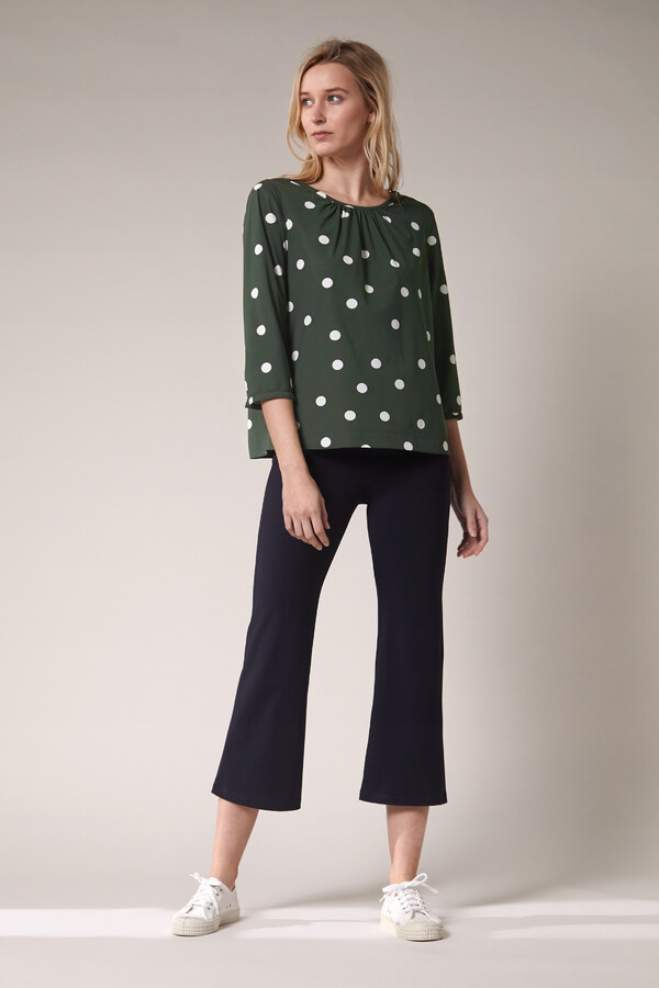 GATHERED TOP DOT PRINT GREEN