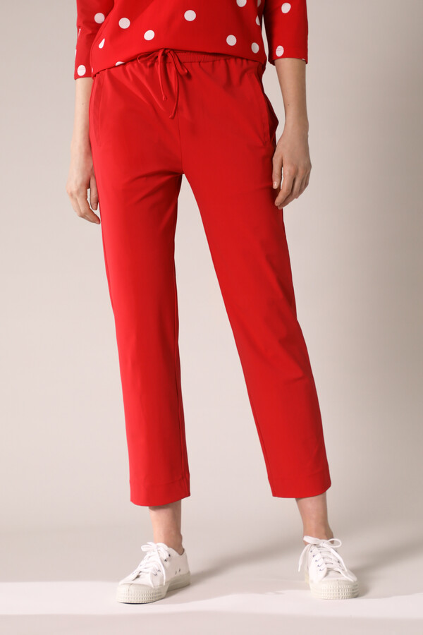 ELASTIC WAIST PANTS RADICAL RED