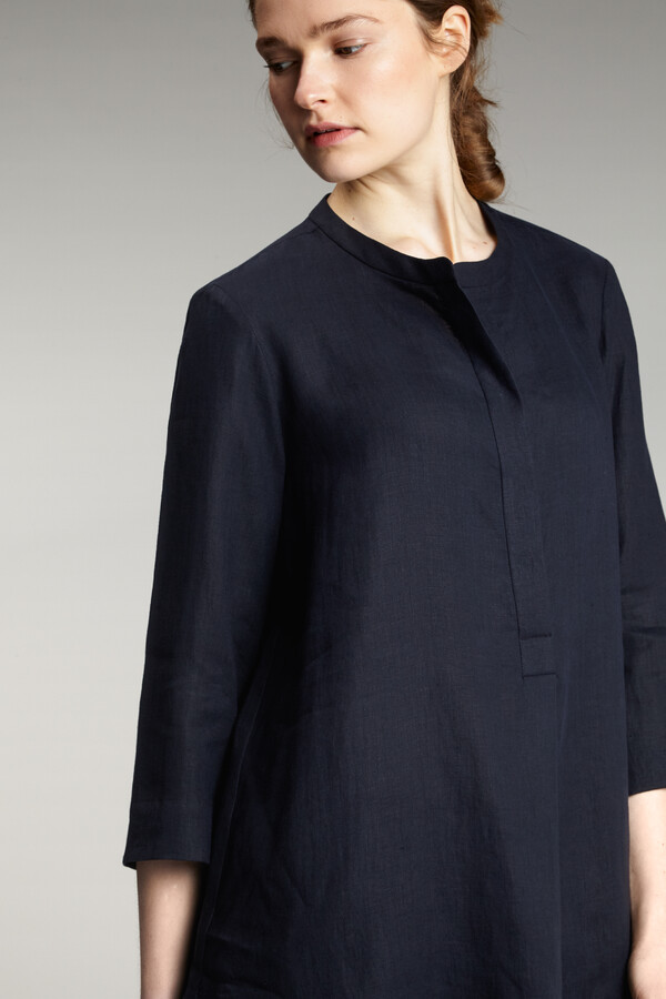 LINEN POPOVER SHIRT MIDNIGHT BLUE
