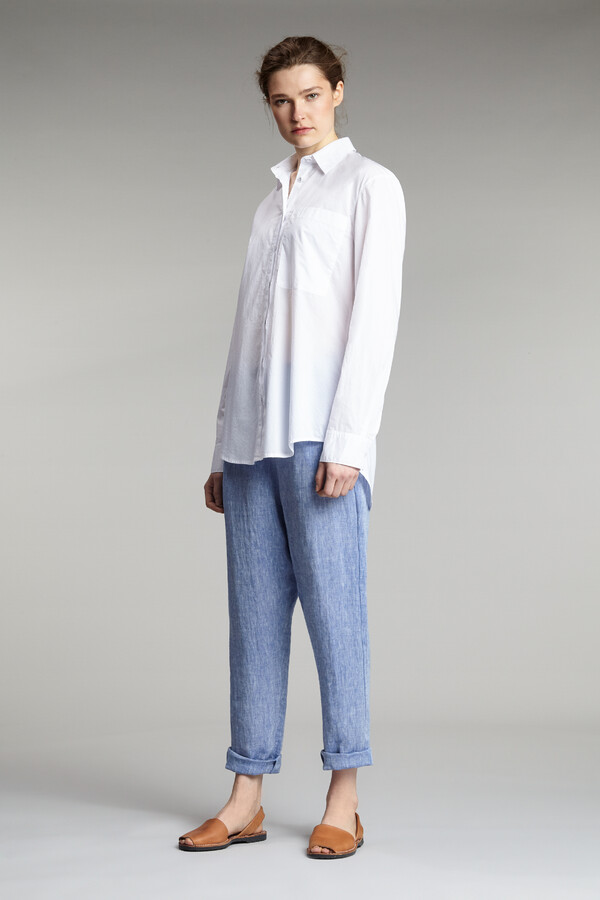 LINEN CROPPED PANTS JAPAN BLUE