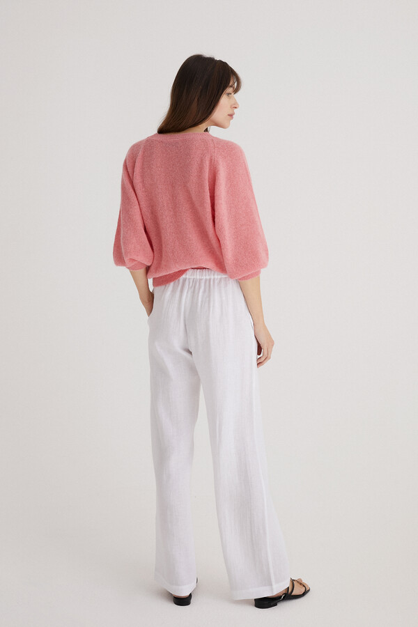 LINEN RELAXED PANTS WHITE