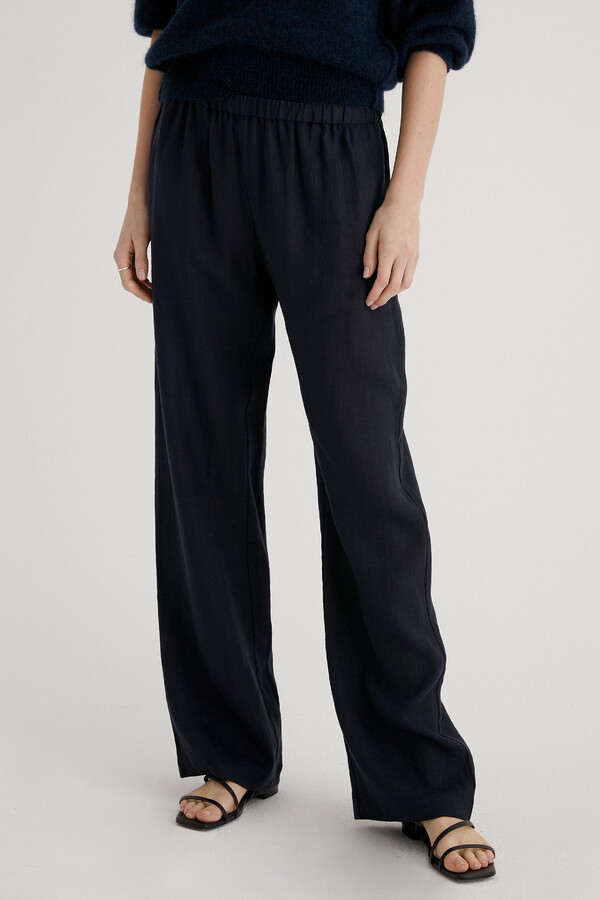 LINEN RELAXED PANTS MIDNIGHT BLUE
