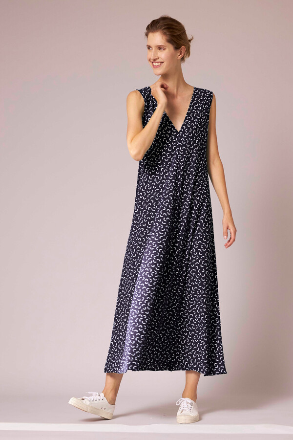 MAXI DRESS PRINTED INK BLUE