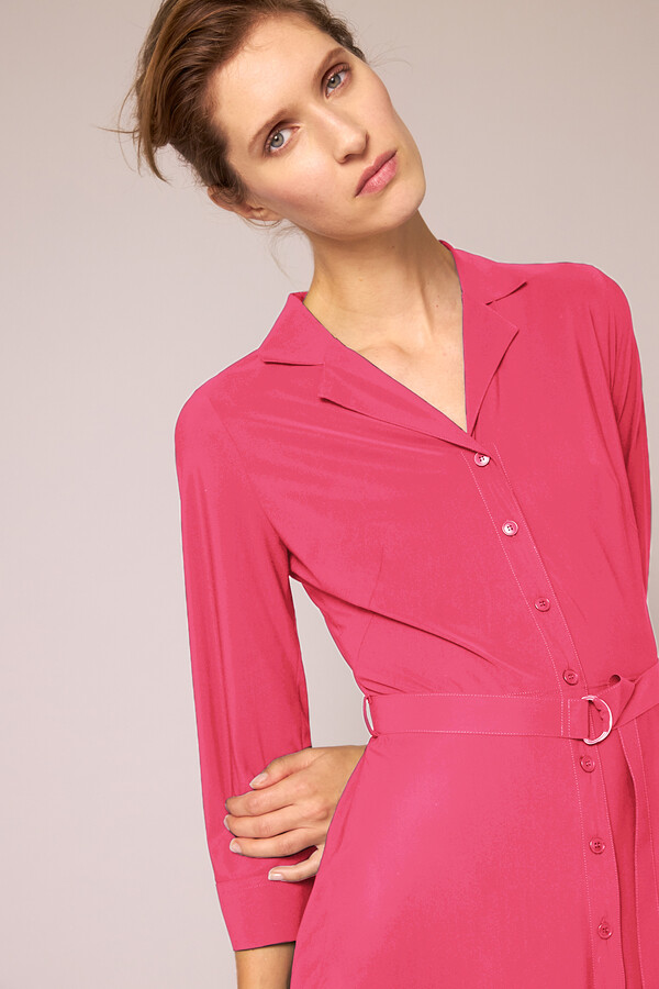 WAISTED SHIRT DRESS RASPBERRY