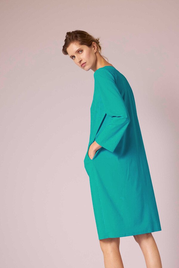 SPLIT NECK DRESS JADE
