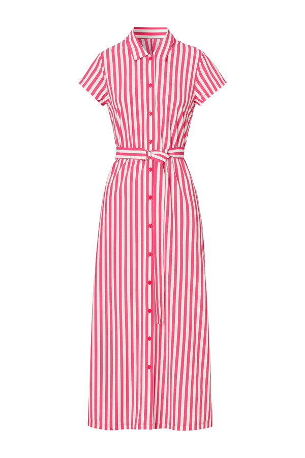 LONG SHIRT DRESS STRIPE RASPBERRY