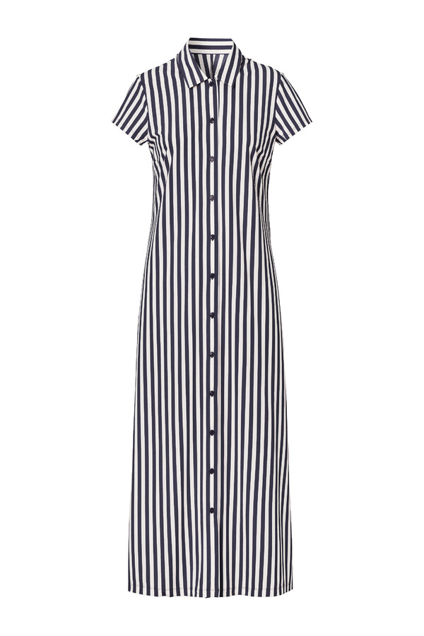 LONG SHIRT DRESS STRIPE INK BLUE