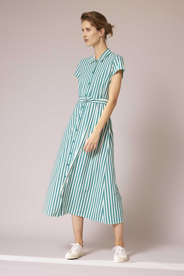 LONG SHIRT DRESS STRIPE JADE