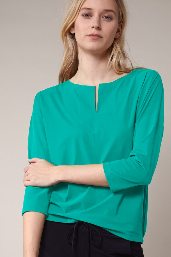 SPLIT NECK LOOSE TOP JADE