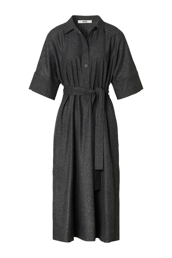 LONG TUNIC SHIRT DRESS CHARCOAL