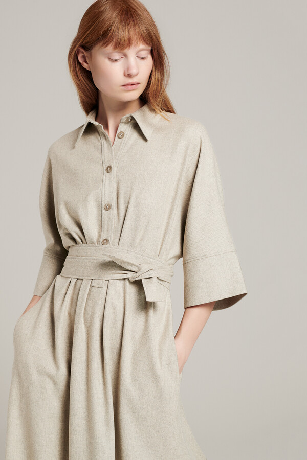 LONG TUNIC SHIRT DRESS GREIGE