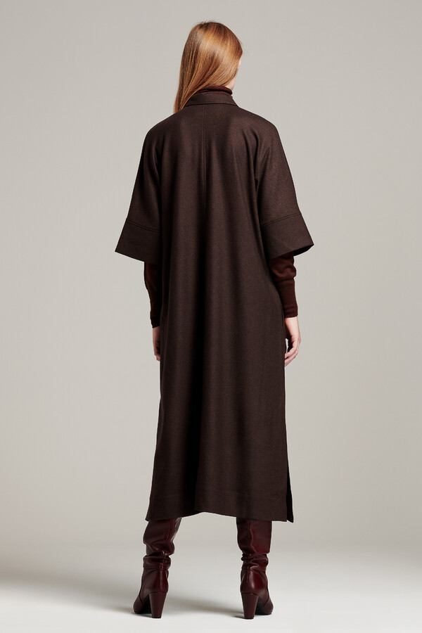 LONG TUNIC SHIRT DRESS WARM BROWN
