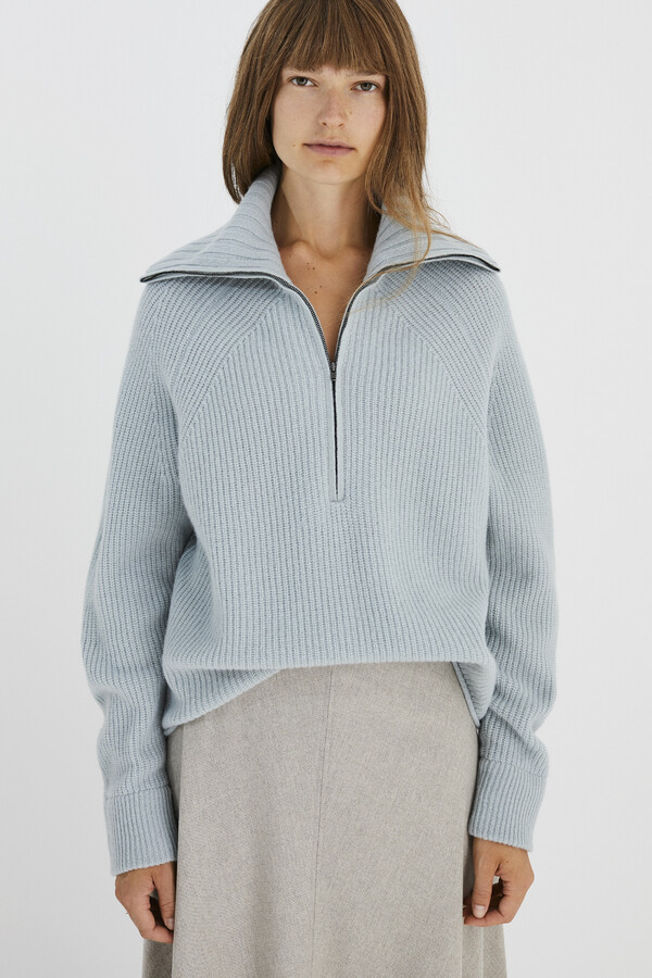 LAMBSWOOL SAILOR PULL LAKELAND MIST