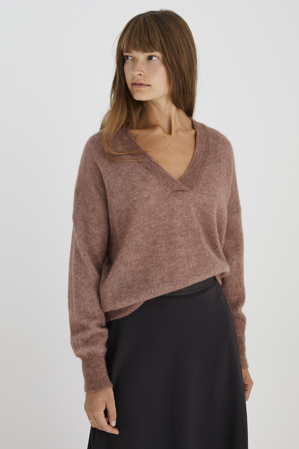 ALPACA V-NECK SWEATER PALE MAUVE