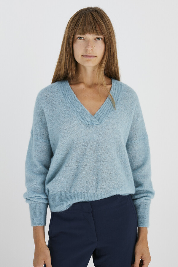 ALPACA V-NECK SWEATER OPAL BLUE