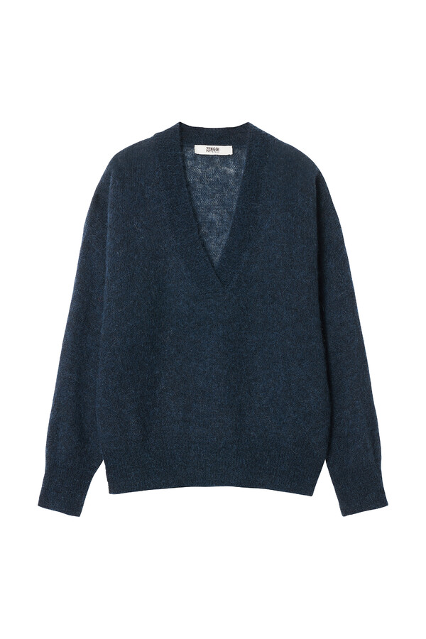 ALPACA V-NECK SWEATER SMOKEY BLUE