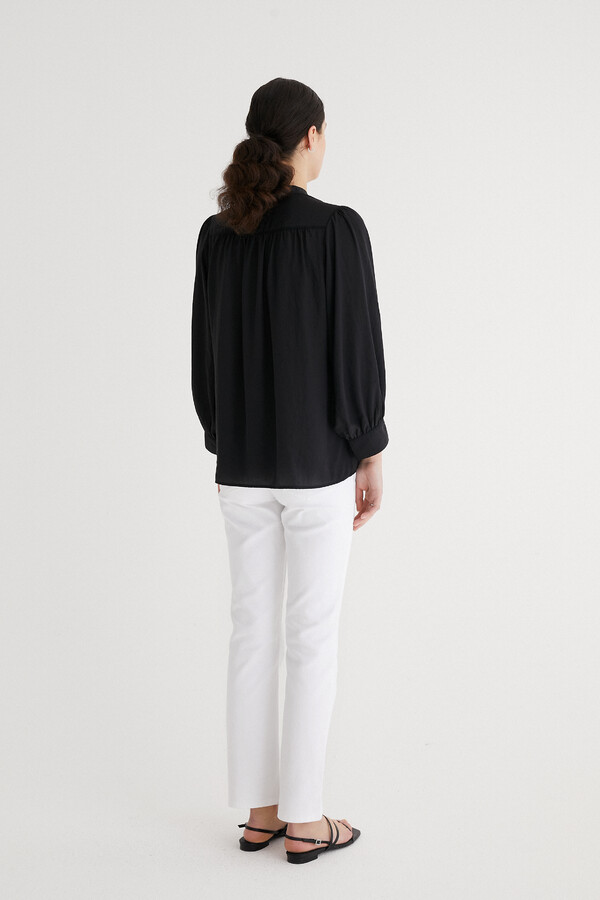 WIDE SLEEVE BLOUSE BLACK