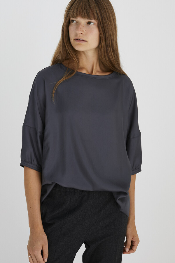 SATIN TWILL TOP GREY
