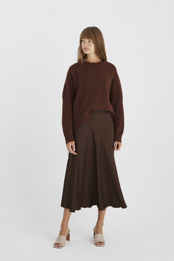 LONG SWAN SKIRT WARM BROWN