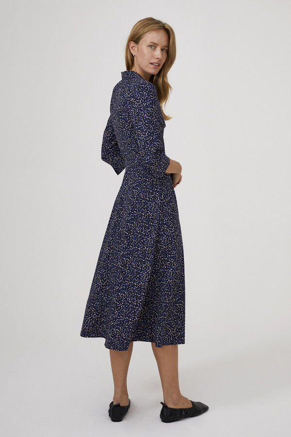 SOFT PRINT SHIRT DRESS BLUE
