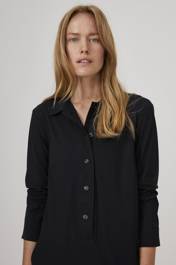 POCKET POLO DRESS BLACK