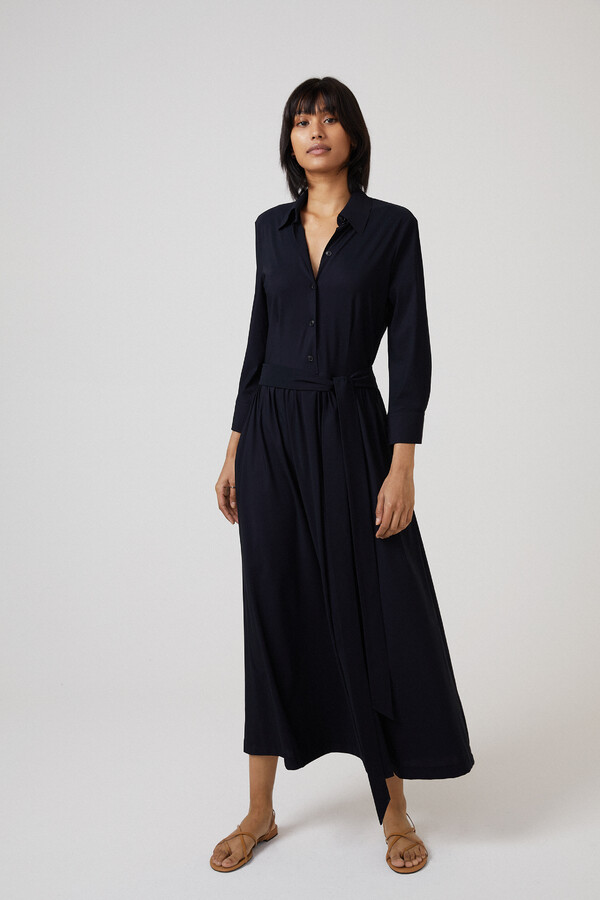 FLOWING SHIRT DRESS BLACK
