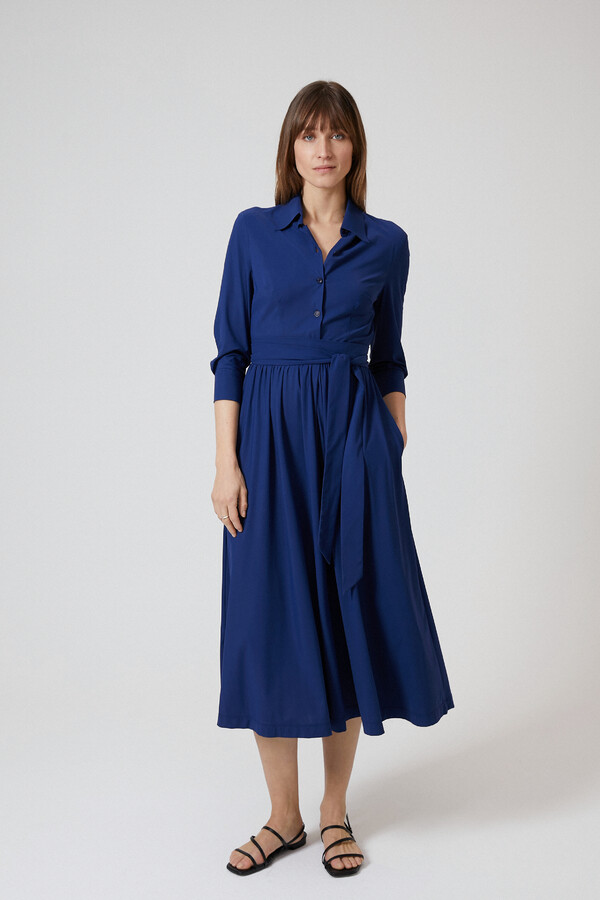 FLOWING SHIRT DRESS OCEAN BLUE