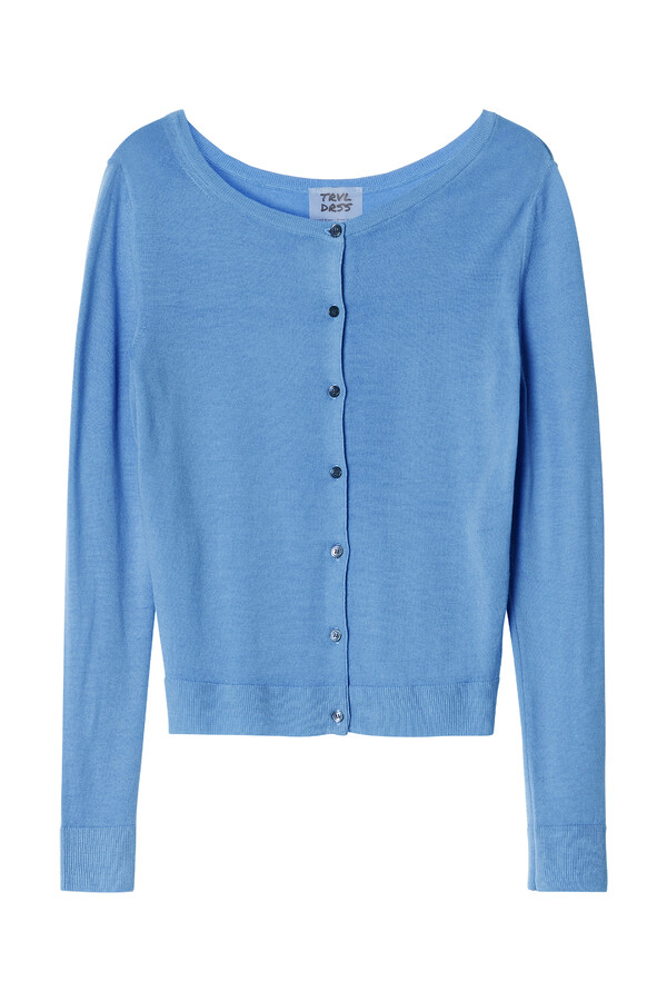 SOFT MERINO BOATNECK CARDI BLUEBIRD BLUE