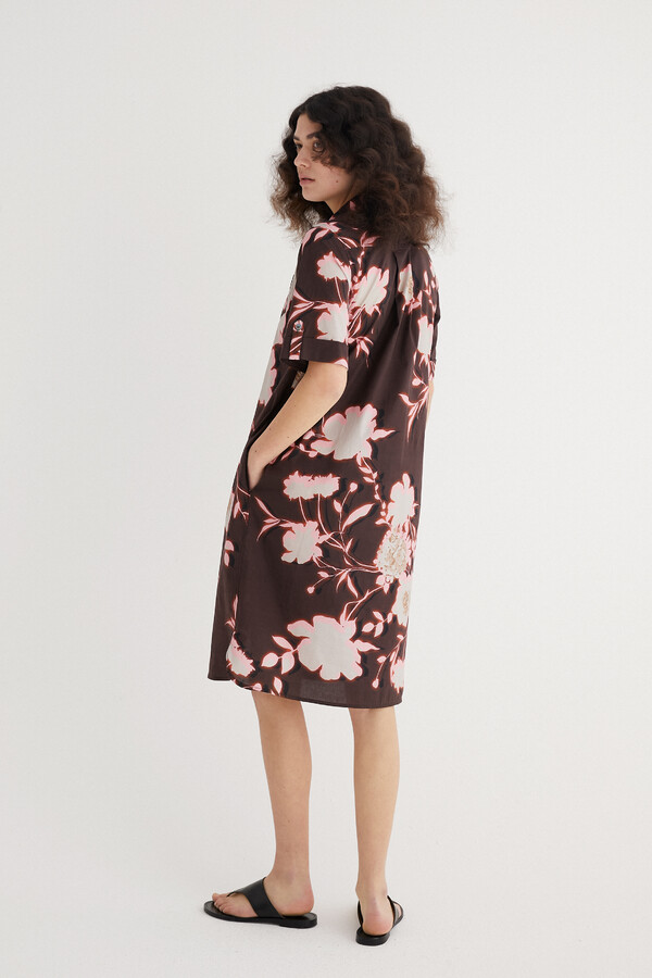 PRINTED COTTON POLO DRESS SHADOW BROWN