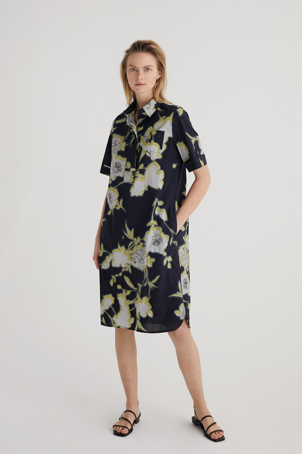 PRINTED COTTON POLO DRESS DARK BLUE