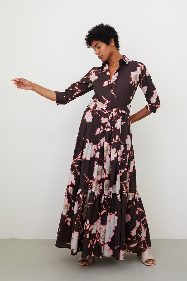PRINTED TIERED DRESS SHADOW BROWN