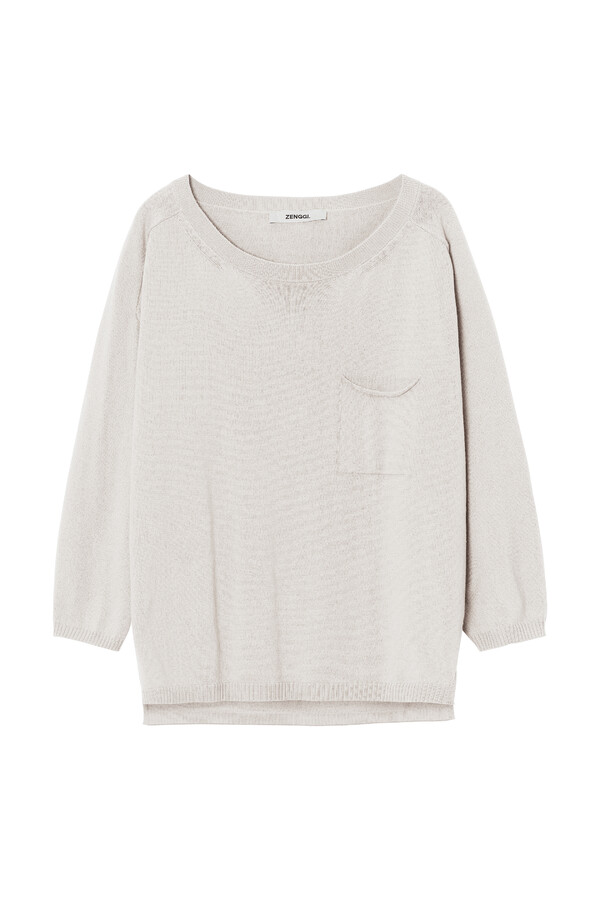 ORGANIC COTTON PULLOVER ¾ SLEEVES PORCELAIN