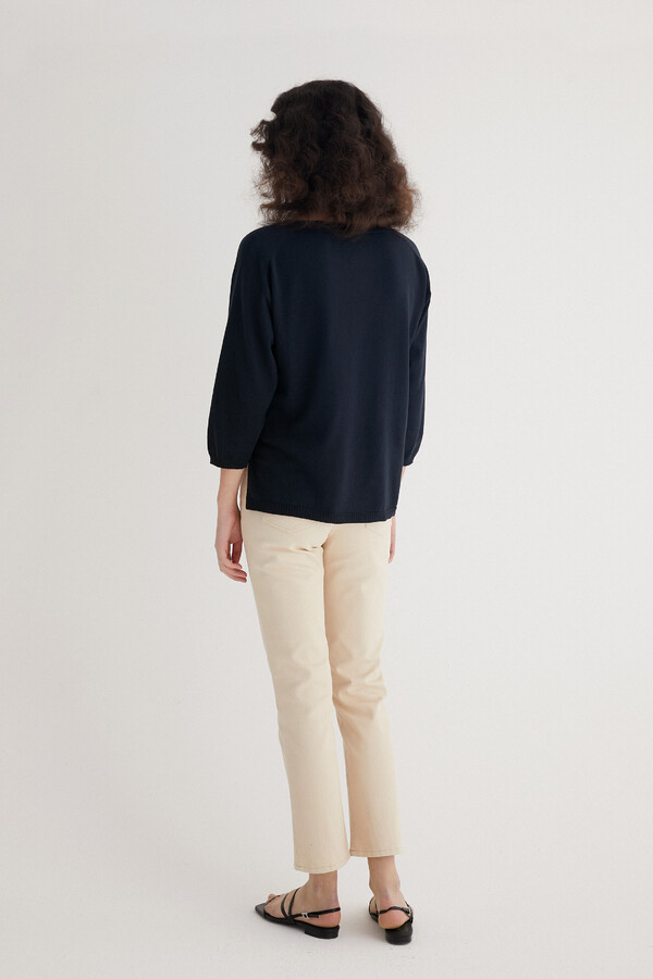 ORGANIC COTTON PULLOVER ¾ SLEEVES DARK BLUE