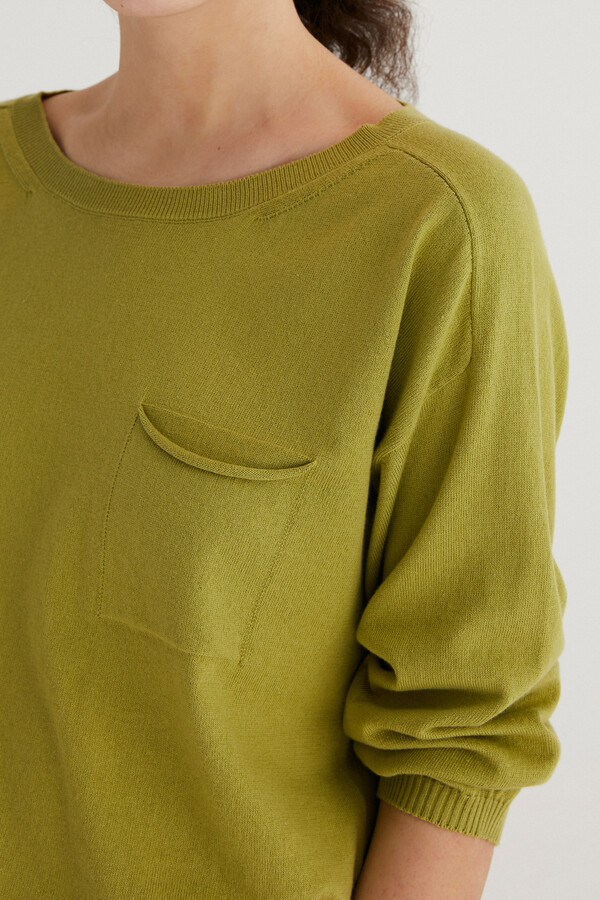 ORGANIC COTTON PULLOVER ¾ SLEEVES FERN