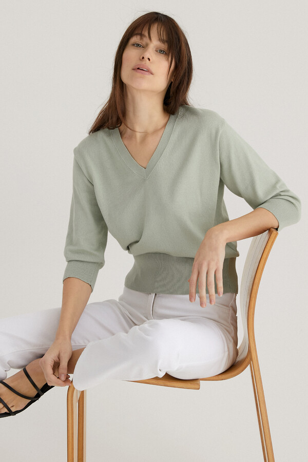 ORGANIC COTTON SHORT SLEEVE V-NECK LINDEN
