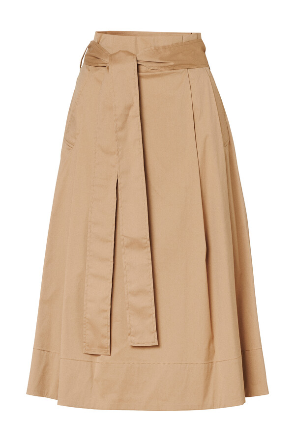 COTTON MIX PLEATED SKIRT BRONZE