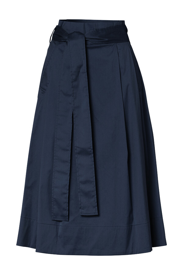 COTTON MIX PLEATED SKIRT DARK BLUE