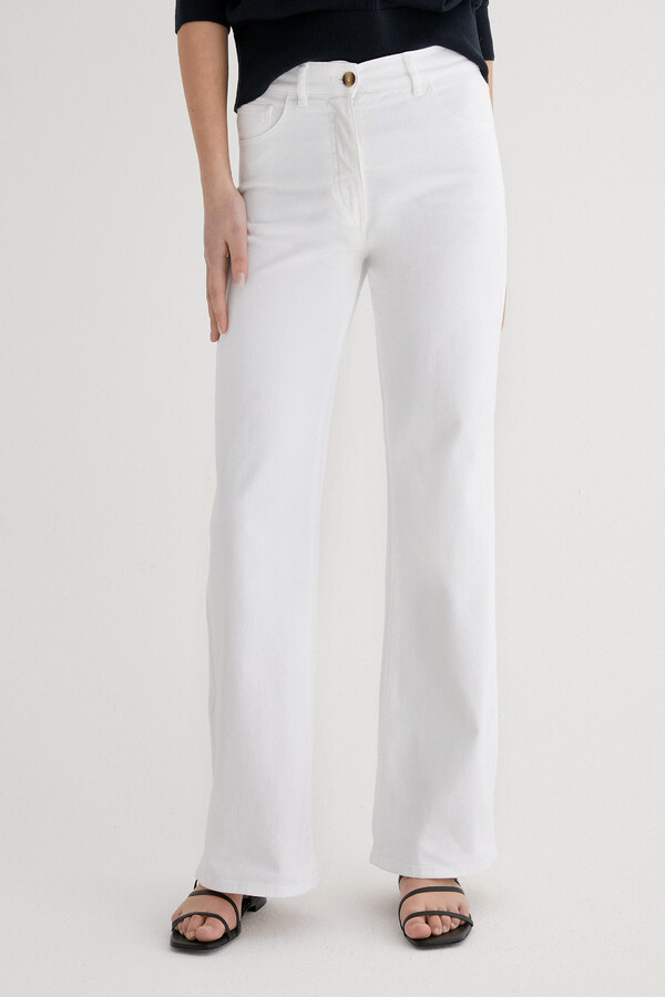 FLARED TWILL PANTS WHITE