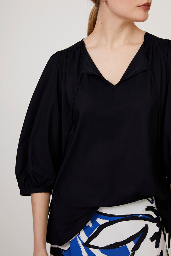 GATHERED TOP BLACK