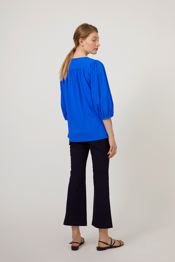 GATHERED TOP ROYAL BLUE