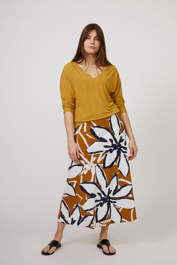 FLAIR SKIRT PRINTED VINTAGE YELLOW