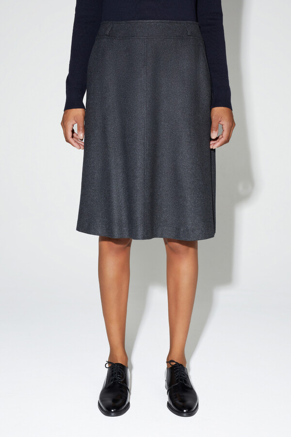 WASHED FLANEL SKIRT CHARCOAL