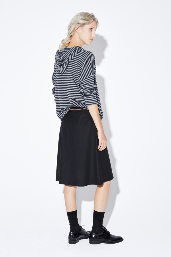 WASHED FLANEL SKIRT BLACK
