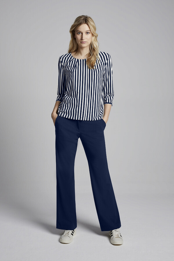 STRIPE PLEAT TOP WARM BLUE