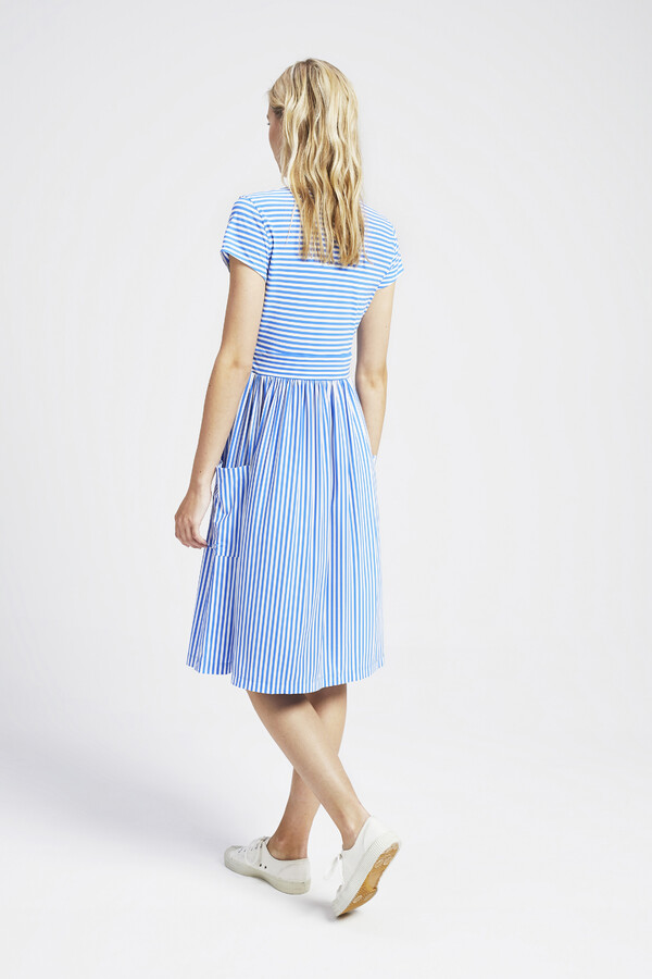 GATHERED STRIPE DRESS AIR BLUE