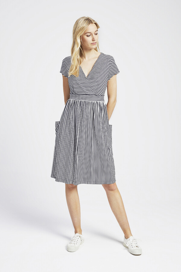 GATHERED STRIPE DRESS SMOKEY BLUE